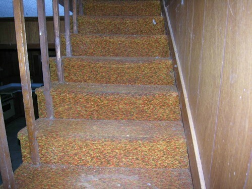house hacking - old ugly carpet on stairs