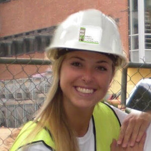 Dorsie Boddiford with hard hat on