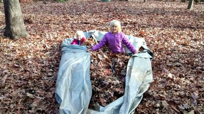 Grandparents house - helping Dada clean up leaves