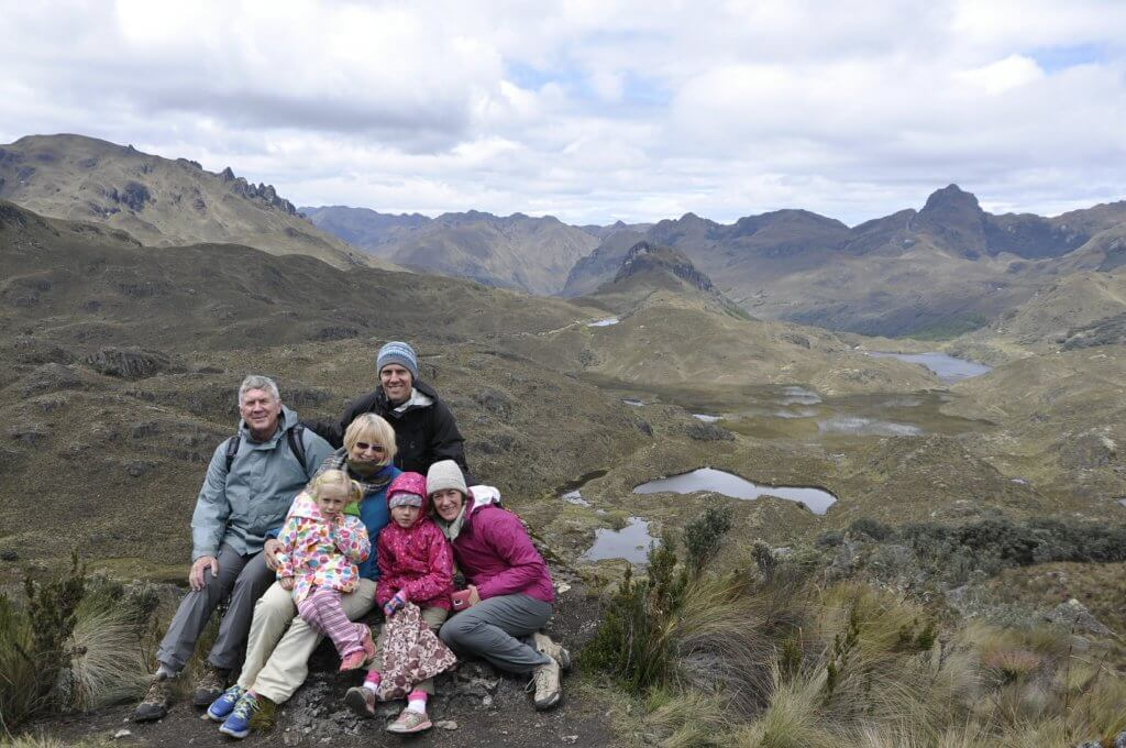 with family in cajas national park