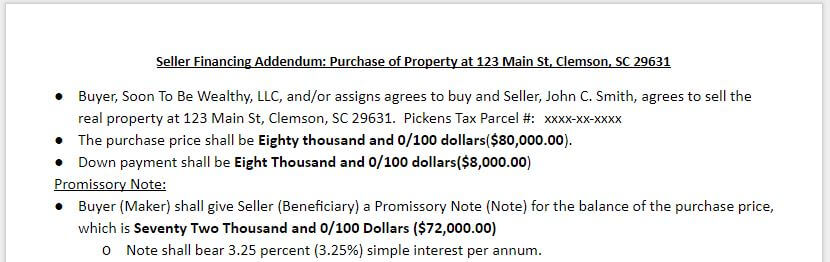 Sample Seller Financing Addendum to Purchase and Sale Contract