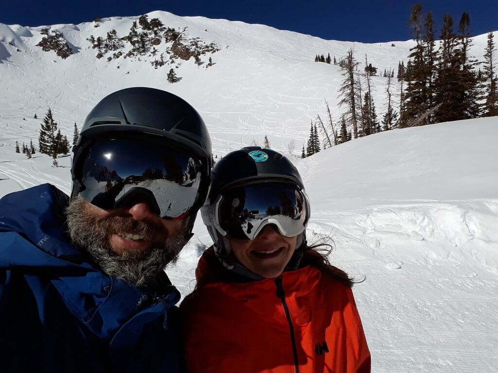 Chris and Kim Mamula on ski mountain