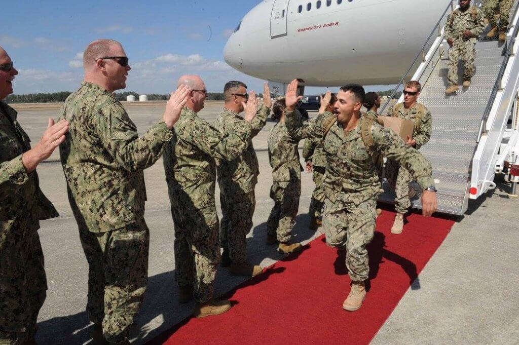 Back on US soil after deployment overseas
