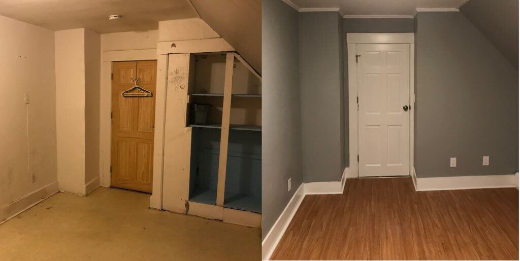 Before & after of bedroom