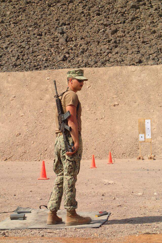 Tony on range day during military training